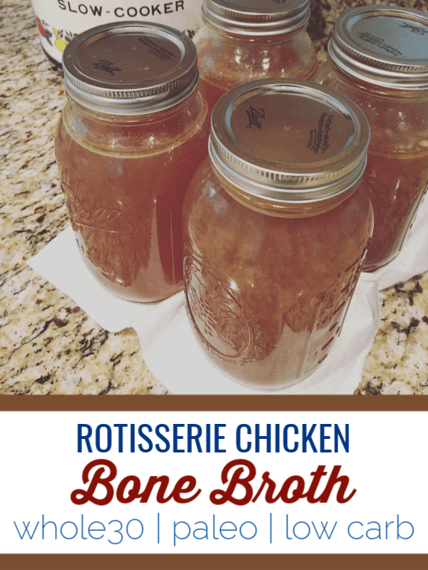 This rotisserie chicken bone broth is a simple way to re-use all components of your meal. #keto #lowcarb #paleo #whole30