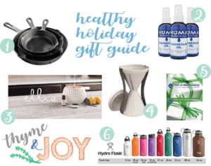 A unique healthy holiday gift guide for your friends and family that follow a health conscious lifestyle from Valerie Skinner of Thyme & JOY.