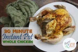 This 30 minute whole chicken can be made just by using an instant pot! This instant pot chicken makes cooking a whole chicken so much easier in the kitchen.