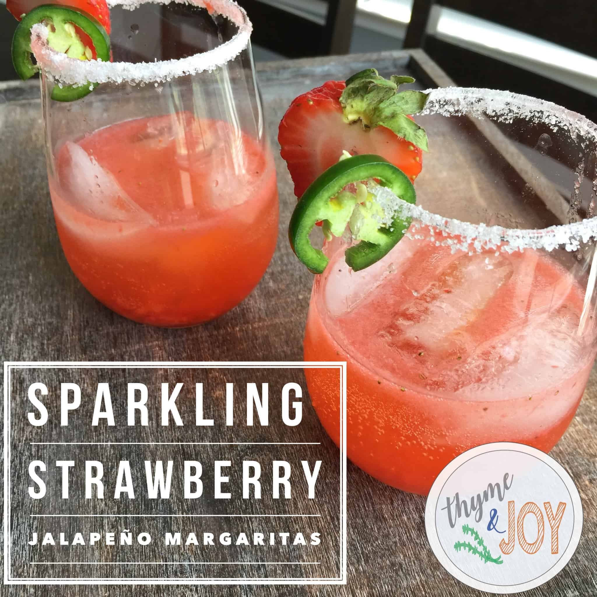 This spicy and sweet strawberry jalapeno margarita is a hit at a summer BBQ or just relaxing at home with a cold and clean drink. | Thyme + JOY