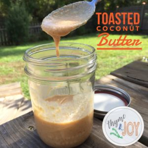 This toasted coconut butter recipe is simple to make for less than $3 a jar! Use as a whole 30 compliant treat or as a natural spread or on anything. | Thyme + JOY