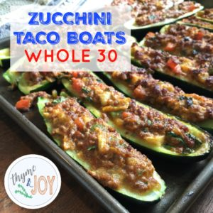 These easy zucchini taco boats make it easy to bring back taco Tuesday or taco any day when you're kicking ass on your Whole 30 journey. | Thyme + JOY