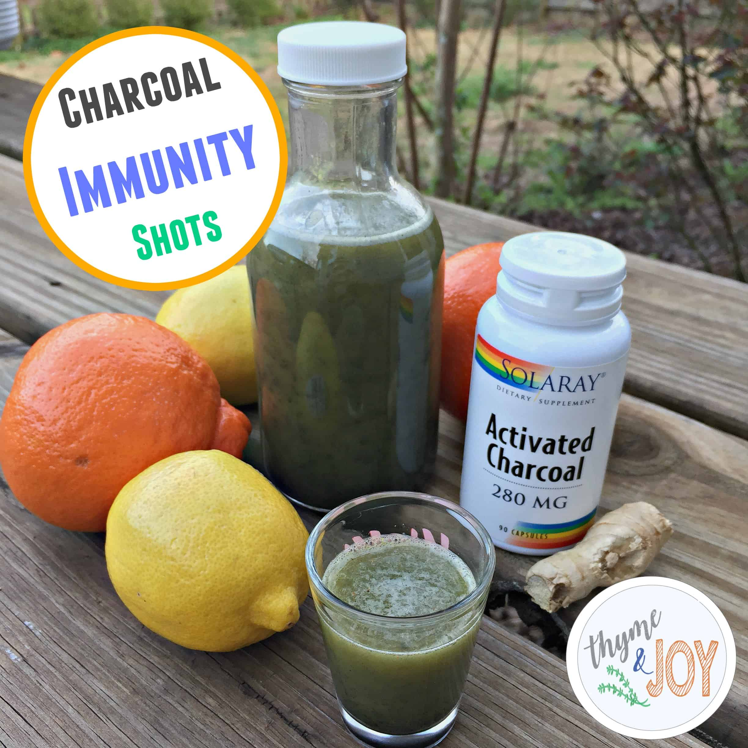 These charcoal immunity shots are simple blend of ginger, lemon, orange and charcoal which helps digestion, nausea, and boosts your immune system.Thyme + JOY