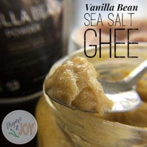 Besides in coffee, vanilla bean sea salt ghee can be used on baked goods, toast and on pancakes. Great for those doing paleo or the Whole30 reset.