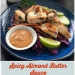 This easy recipe uses The New Primal Marinade to make a spicy almond butter sauce to flavor your Whole30 Reset or Paleo diet lifestyle. | Thyme & JOY
