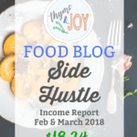 Find out how and why I was able to make $18.24 in my very first food blog side hustle income report for February and March of 2018. | Thyme + JOY