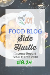 Find out how and why I was able to make $18.24 in my very first food blog side hustle income report for February and March of 2018.   Thyme + JOY