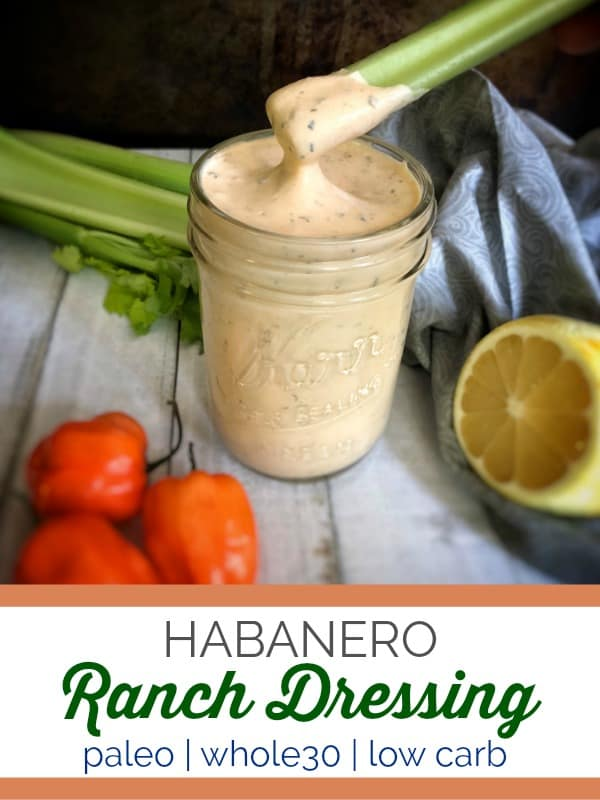 This spicy habanero ranch dressing made with fresh cilantro doubles as a dip and puts a kick into any salad or chicken wing obsession. #paleo #whole30 #keto