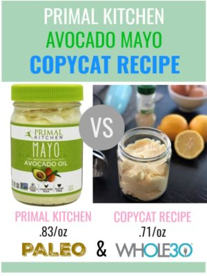 A copycat recipe for Primal Kitchen Avocado Mayo. Make your own mayo in one minute using just 5 ingredients or less for a budget friendly Whole30. | Thyme + JOY