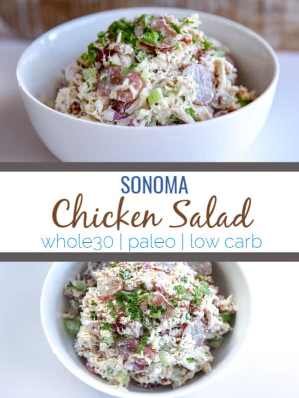 Sonoma Chicken Salad is a sweet and savory cold chicken salad that contains chicken, celery, onion, mayo, nuts and grapes for sweetness. Makes a great option for sandwiches or to top greens with for salad. This chicken salad is paleo and whole30 compliant.