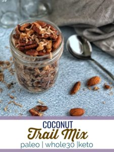 This coconut trail mix is high in fat, has few ingredients and is a super satisfying snack for on the go! #keto #paleo #whole30 #vegan #glutenfree