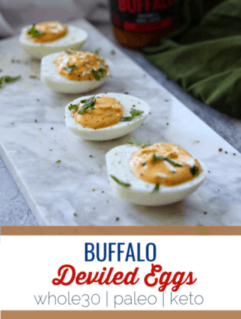 These buffalo deviled eggs are perfect for parties or to have as a healthy snack.  #paleo #keto #whole30 #glutenfree