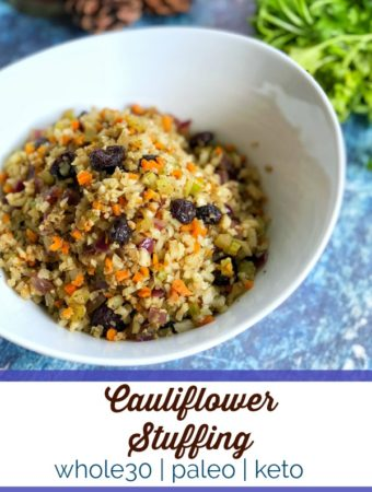 This rice cauliflower stuffing is a hit for those trying to make healthier choices during the holiday season. #whole30 #paleo #glutenfree #keto