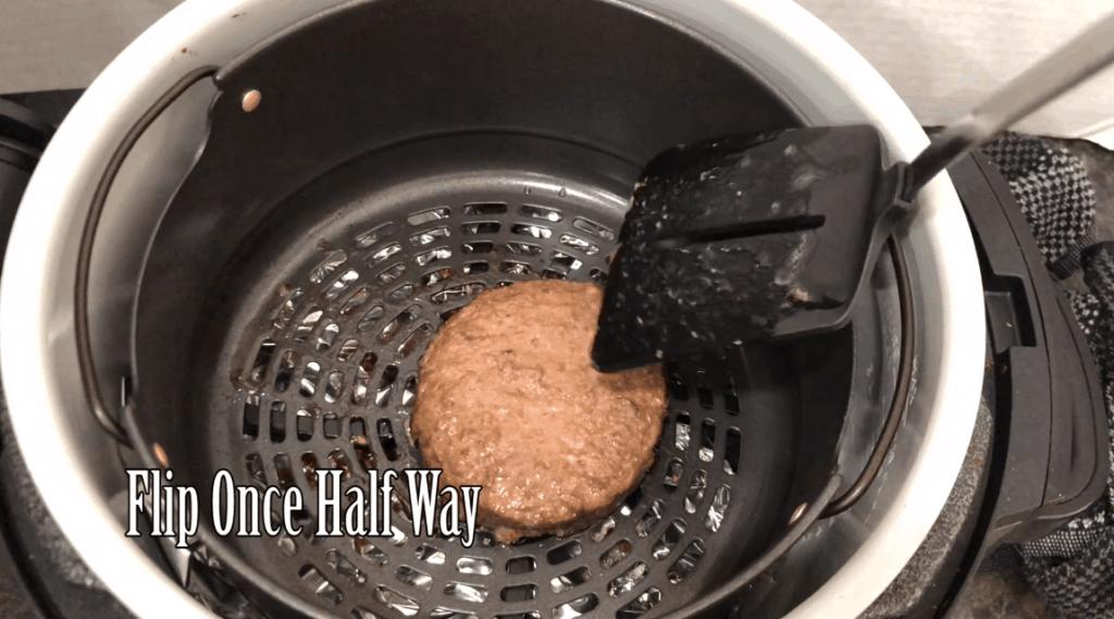 air fryer hamburger with spatula