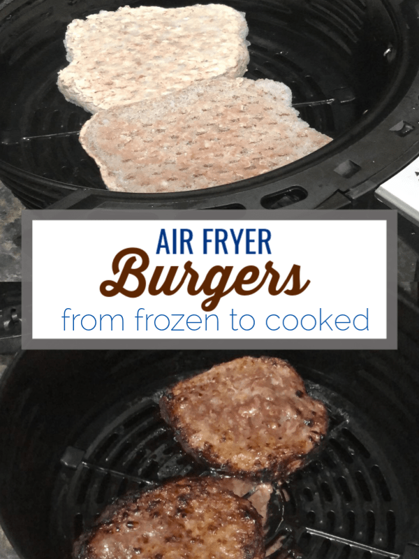 Air fryer burgers use the air fryer to cook frozen burger patties perfectly in 20 minutes. #paleo #airfryer #airfryerrecipes #burgers #whole30 #keto