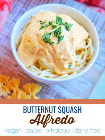 This butternut squash alfredo is a holiday hit for those looking for a creamy dairy free sauce option. #dairyfree #vegan #paleo #whole30