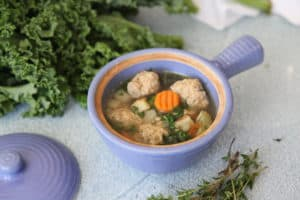 This Italian wedding soup is warming, comforting and full of clean ingredients like homemade chicken meatballs, carrots, celery, onion, potatoes and kale. Perfect for those on a paleo, or whole30 reset.