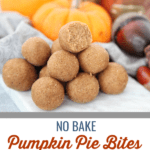 These no bake pumpkin pie bites taste just like pumpkin pie and use simple clean ingredients for a warming holiday flavor. #vegan #paleo #glutenfree