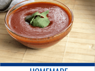 This red enchilada sauce is easy to make and has squeaky clean ingredients for those following a healthy lifestyle.  #whole30 #paleo #vegan