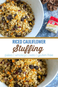 This riced cauliflower stuffing is a hit for those trying to make healthier choices. This recipe is similar to trader joes riced cauliflower stuffing and makes a great keto side dish for those eating low carb or whole30 for christmas and thanksgiving. #keto #paleo #glutenfree #vegan #whole30