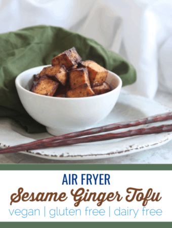 This sesame ginger tofu crisps up perfectly using the air fryer and is ready for salads, noodle bowls, rice and more. #vegan #glutenfree #airfryer #airfryerrecipe