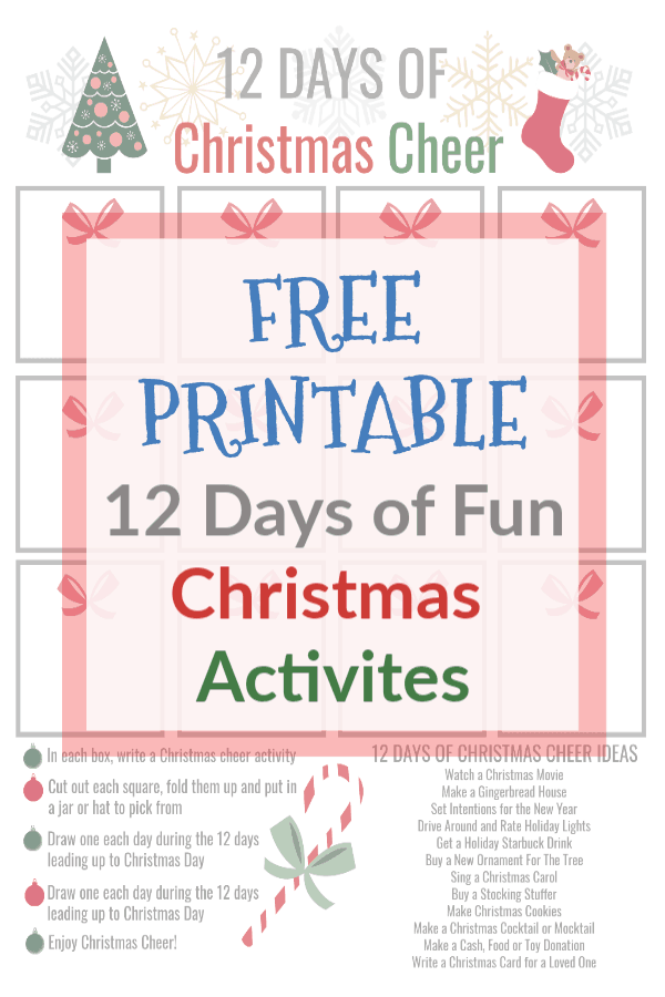 image about 12 Days of Christmas Printable known as 12 Times of Xmas Cheer No cost Printable Thyme and Contentment