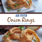 Crispy Brown air fryer onion rings on a white plate.