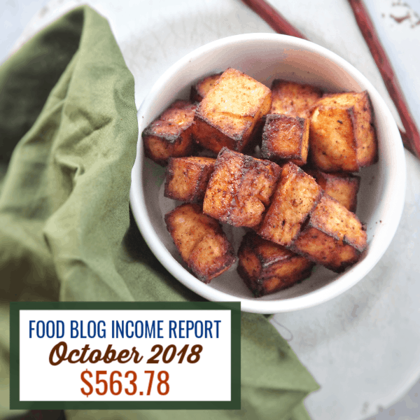 Blog Income Report October 2018 : Find out how I made $563.78 through my blog with various strategies. #blog #foodblog #sidehustle