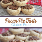 These mini pecan pie tarts are a perfect treat for those who want just a little taste of pecan pie. This recipe is made with gluten free cookie dough and a dairy free date caramel. #pecanpie #dessert #pecanpiecookie