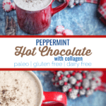 This peppermint hot chocolate is the perfect way to warm up during the holidays.  This recipe uses clean ingredients like cocoa powder, peppermint and collagen.