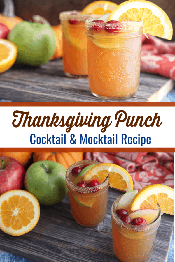 This thanksgiving punch recipe has all the flavors of fall and can be easily made as a cocktail or mocktail. #thanksgiving #mocktail #cocktail #thanksgivingcocktail #thanksgivingmocktail #thanksgivingpunch