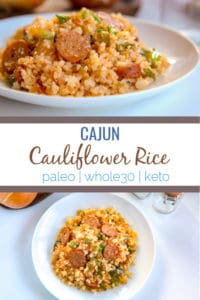 This cajun cauliflower rice is a paleo, whole30, and keto take on dirty rice. It uses riced cauliflower, andouille sausage, pepper, onion and creole and cajun seasonings to make an easy one pot skillet meal.