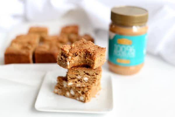 These white chocolate peanut butter blondies are the perfect gooey dessert. Peanut butter white chocolate is a winning dessert combo and these are made gluten free.