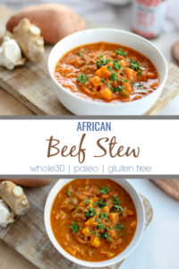 This African beef stew is a perfect meal to prep for the week. African beef stew is spicy, hearty and filled with nutrition and flavor from simple, easy to find African spices. Also compliant with Whole30 and paleo lifestyles.