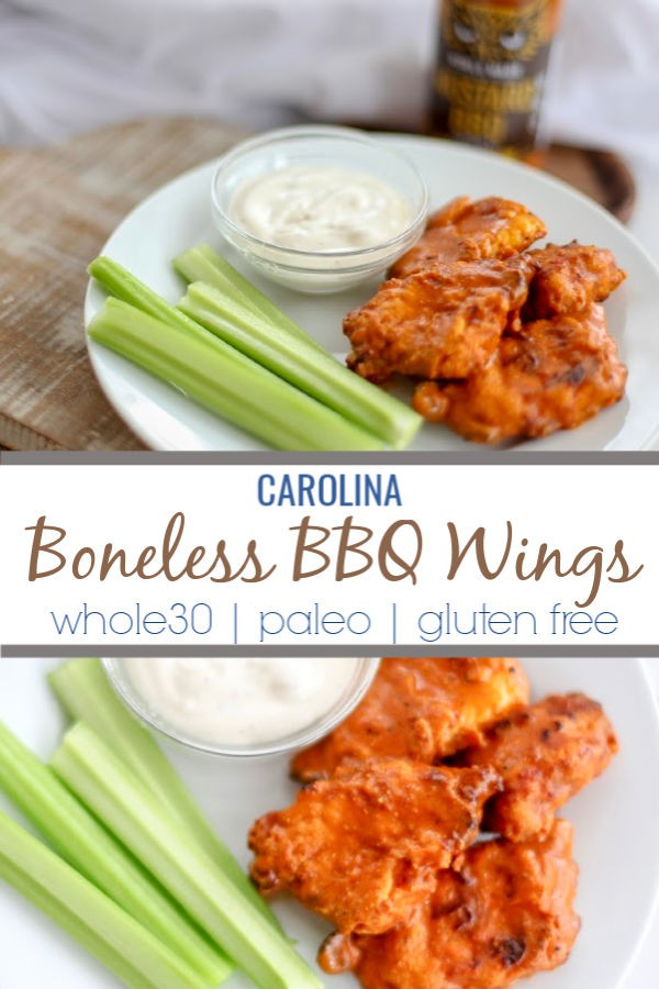 These Carolina Boneless BBQ wings have a sweet and tangy kick. Makes a great appetizer for game day or parties and is Whole30 compliant and Paleo.