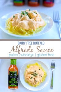 This dairy free buffalo Alfredosauce is the perfect way to get a creamy sauce that is vegan and void of dairy thanks to its base of cashews. This recipe can be used as part of a low carb, paleo, whole30 or dairy free way of eating.