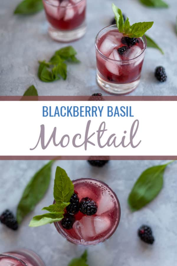 This blackberry basil mocktail may be lacking alcohol but it does not lack flavor! The combination of blackberry, basil and lime sparkling water make a tart and sweet drink great for any party. #mocktail #cocktail