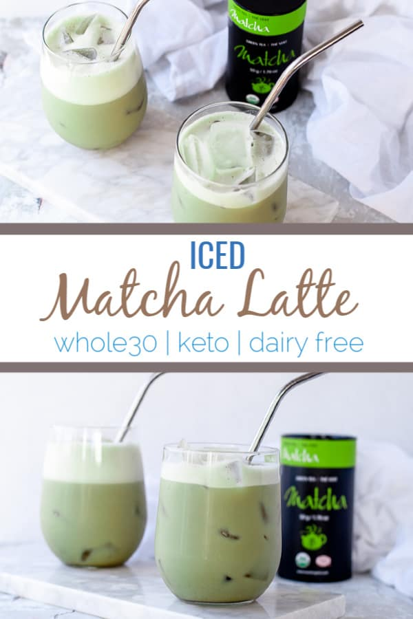 This iced matcha latte recipe is a simple way to get the health benefits of green tea especially during warmer months. Made with matcha tea, dairy free milk and collagen, it packs a nutritional punch. #keto #whole30