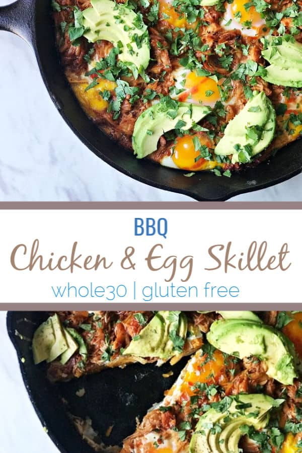 This BBQ chicken & egg skillet uses bbq pulled chicken and an easy sweet potato hash that can be whipped up for breakfast, brunch, lunch or dinner.#whole30 #keto