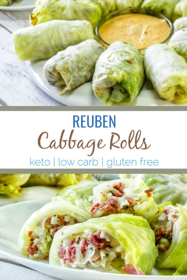 With these crazy good Keto Reuben Cabbage Rolls, you're getting all of the classic Reuben flavors without the extra carbs. #keto #lowcarb