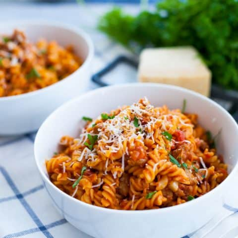 Instant Pot Pasta with Meat Sauce