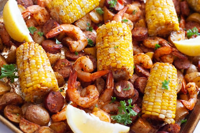 shrimp, corn, sausage potato on sheet pan