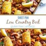 corn, sausage, shrimp, potatoes on sheet pan