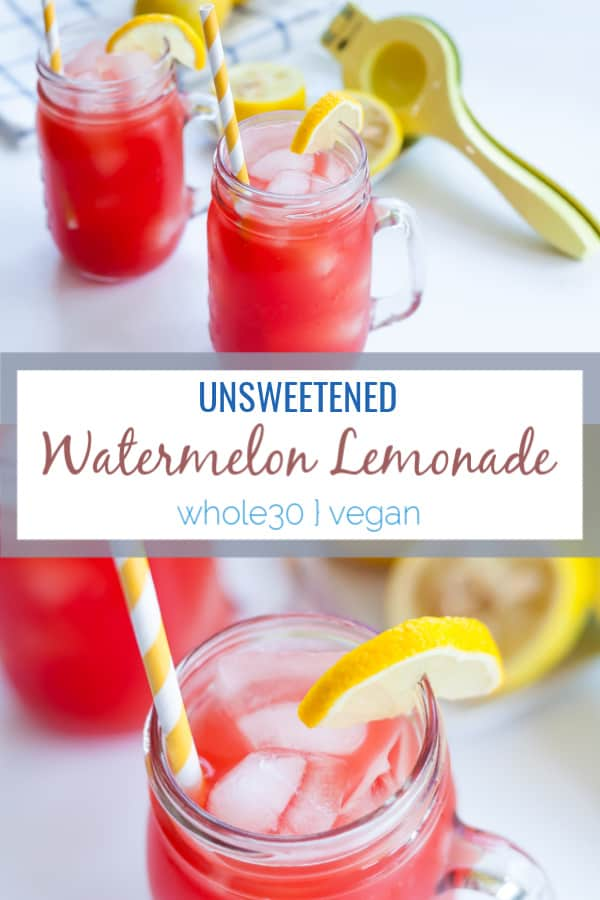This easy watermelon lemonade recipe is perfect for summer for hydration and to use up leftover watermelon from your summer parties.  No juicer is needed to make this refreshing beverage. #summerrecipes #watermelon #watermelonlemonade