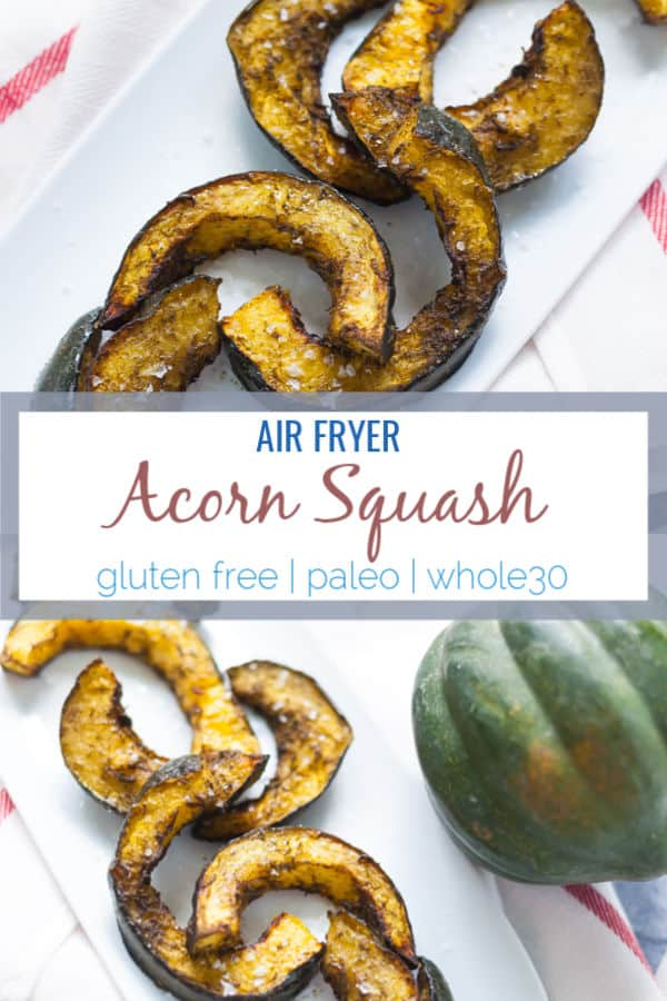 This air fryer acorn squash is the perfect way to eat seasonally during the Fall months where squash is in season. Great as a healthy fall side dish. #airfryer #airfryerrecipes