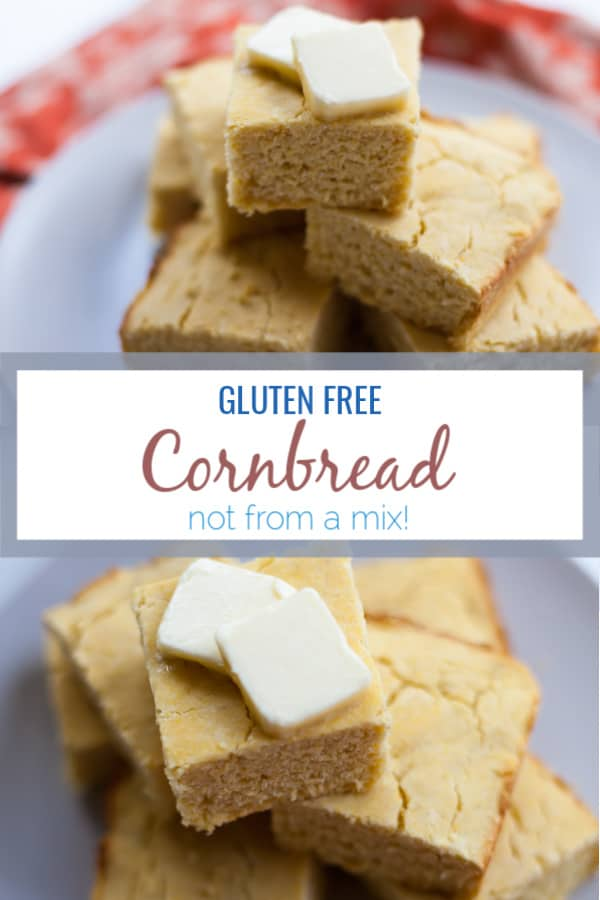 This gluten free cornbread recipe can be served with any fall meal or eaten by itself topped with melted butter or maple syrup. It can also be turned into gluten free cornbread muffins or cornbread croutons. #glutenfree #cornbread #cornmeal