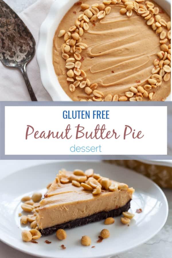 This gluten free peanut butter pie blends peanut butter and chocolate for a decadent dense dessert made with an easy chocolate cookie crust.#glutenfree #peanutbutter #dessert
