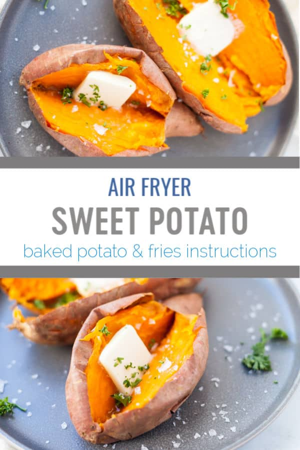 This recipe for air fryer sweet potato is a quick way to bake potatoes using my favorite time saving kitchen appliance. This method makes a side dish that is paleo, whole30 and gluten free! #airfryer #airfryerrecipe