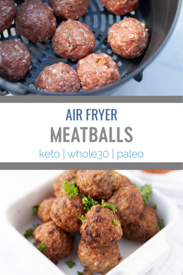 This easy recipe for air fryer meatballs makes a meatball that is tender and juicy on the inside and nice and crispy on the outside. Perfect for cocktail appetizers or to pair with a sauce. #airfryer #airfryerrecipes #meatballs