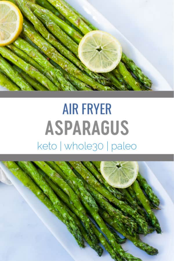 This recipe for Air Fryer Asparagus is a perfect way to learn how to cook asparagus instead of roasting in the oven or steaming to make a easy healthy side dish in under 10 minutes! #airfryer #airfryerrecipes #keto #whole30 #asparagus